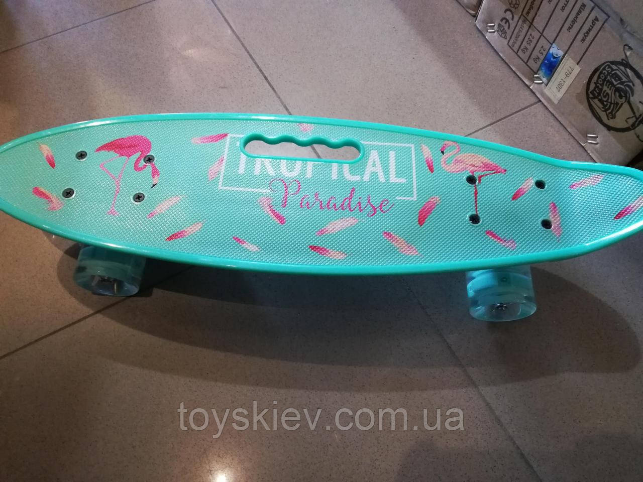 Скейт Пенни борд (Penny board) пениборд с рисунком, ручкой светящиеся колёса 32035-4