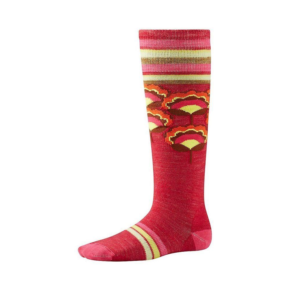 Детские термоноски Smartwool Girls' Peony Pop Kneehigh Socks Bright Coral, M / 29-32