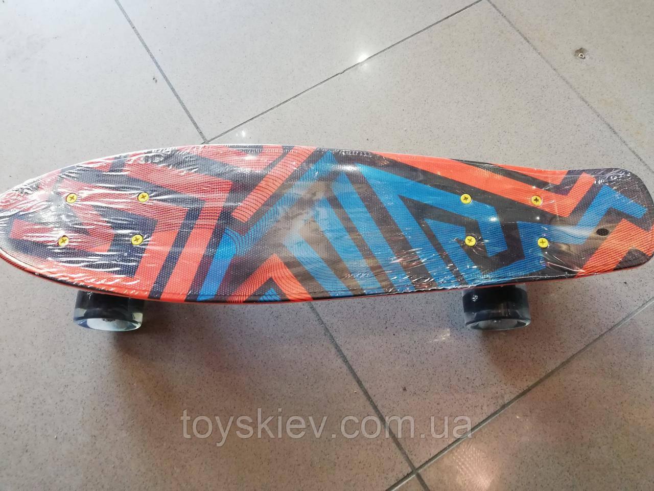 Скейт Пенни борд (Penny board) 820-24 с рисунком, светящийся