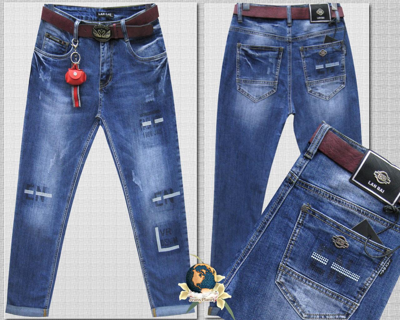 Модные женские джинсы баталы оригинальный принт 29 размер