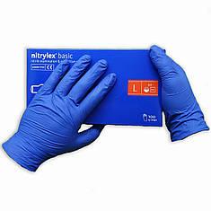 Перчатки нитриловые Nitrylex Basic одноразовые неопудренные  100 шт  размер   L синие, фото 2