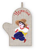 APV 19 Прихватка варежка, сувенир с вышивкой аппликацией, хлопок