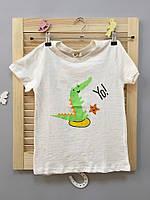 Стильная детская футболка зеленый динозавр Акция! Последний размер:  140см