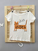 Стильная детская футболка с рыжым котом Акция! Последний размер:  140см