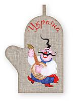 APV 33 Прихватка варежка, сувенир с вышивкой аппликацией, хлопок