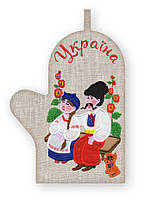 APV 42 Прихватка варежка, сувенир с вышивкой аппликацией, хлопок