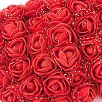 ОПТ Розочки из фоамирана с фатином, диаметр 2-2,5см (цена за пачку 144 шт) цвет- Красный