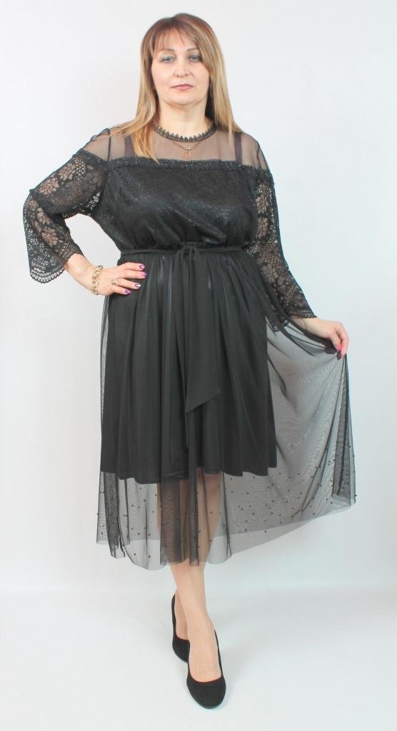 Шикарное турецкое женское платье с гипюром и сеткой, размеры 48-54