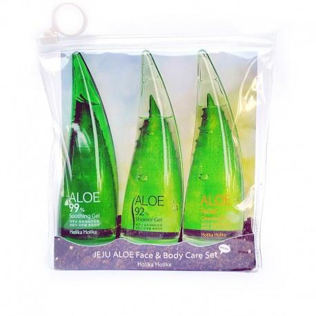 Комплексный набор(пенка для умывания,гель для душа,крем-гель) 450мл  Holika Aloe Care Set
