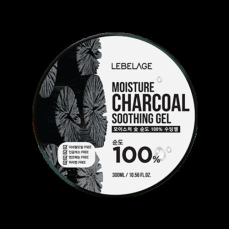 Увлажняющий крем-гель с углем 300 мл  Lebelage Moisture Charcoal 100% Soothing Gel