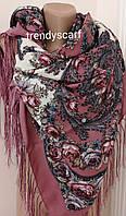 Женский Павлопосадский платок шерстяной Розовый белый. Цветы розы огурцы шелковая бахрама 120\120