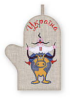 APV 54 Прихватка варежка, сувенир с вышивкой аппликацией, натуральный лен, хлопок