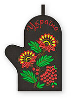 APV 56 Прихватка варежка, сувенир с вышивкой аппликацией, натуральный лен, хлопок
