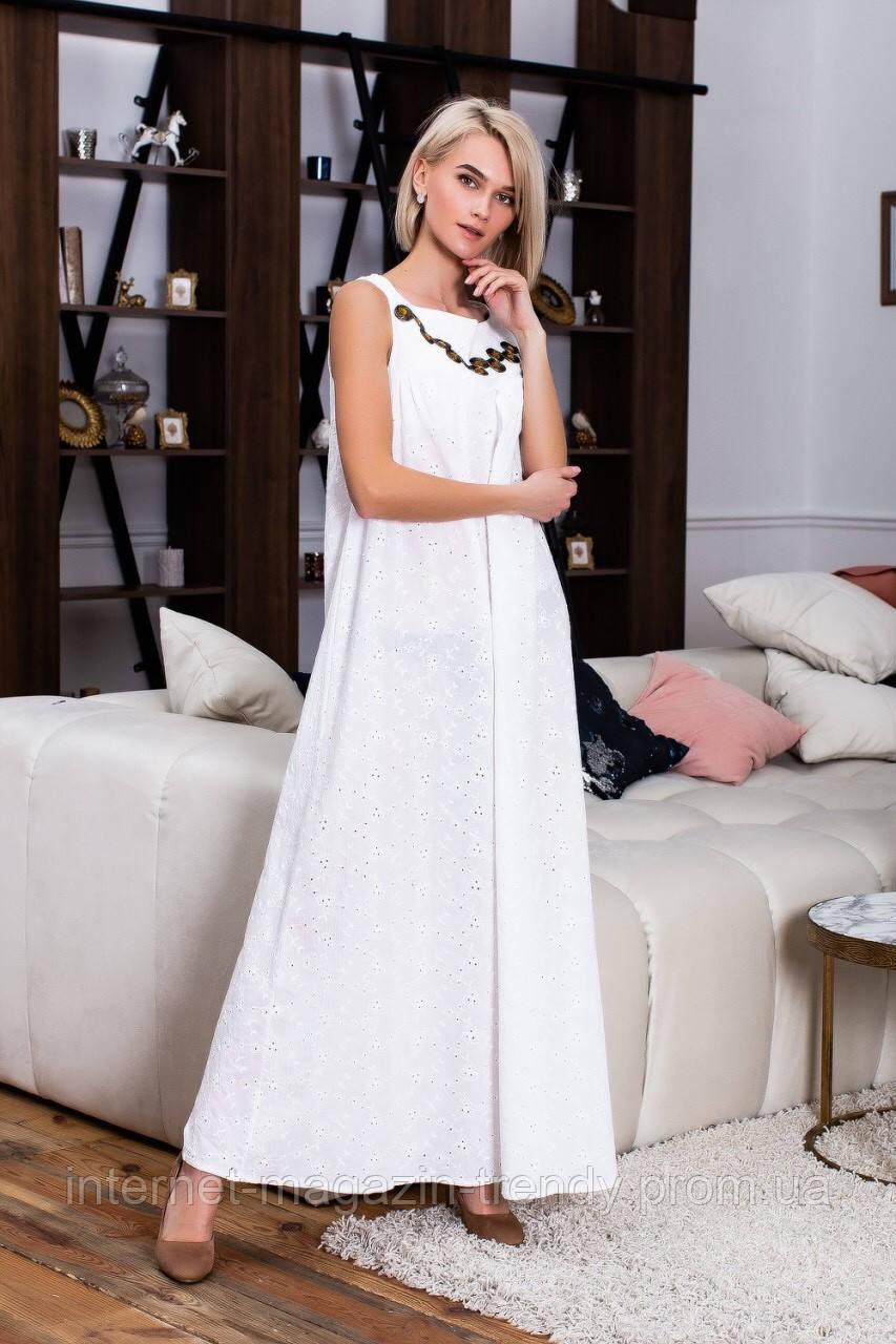 Летнее длинное платье из коттона с вышивкой (3 цвета) ВШР40091086