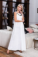 Летнее длинное платье из коттона с вышивкой (3 цвета) ВШР40091086, фото 1