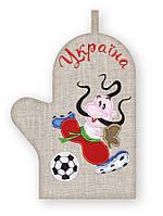 APV 57 Прихватка варежка, сувенир с вышивкой аппликацией, натуральный лен, хлопок