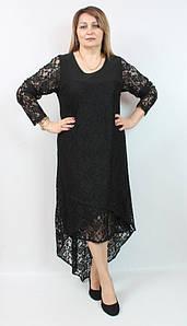 Асимметричное гипюровое женское платье Турция, больших размеров 52-62