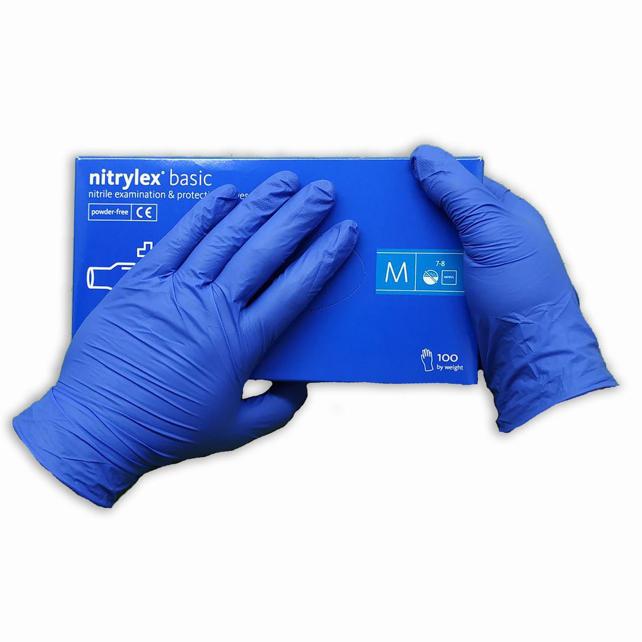 Перчатки нитриловые Nitrylex Basic   одноразовые  нестерильные 100 шт  размер  M синие