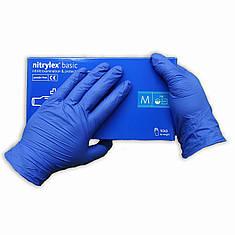 Перчатки нитриловые Nitrylex Basic   одноразовые  нестерильные 100 шт  размер  M синие, фото 2