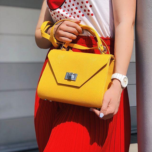 Жіноча шкіряна сумка жовта 24 х 18 х 10 см