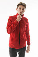 Мужская толстовка флисовая на молнии с карманами красного цвета