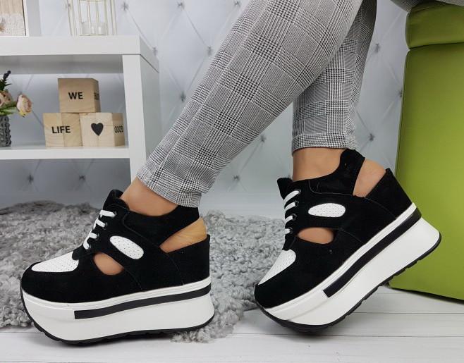 53772c0e4 Сникерсы кроссовки женские на платформе с открытой пяткой черно-белые -  Интернет-магазин
