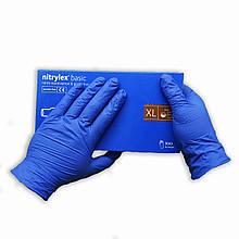 Перчатки нитриловые   Nitrylex Basic  медицинские нестерильные 100 шт  размер   XL  синие