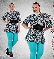 Д638 Рубашка-туника с поясом размеры 50-52