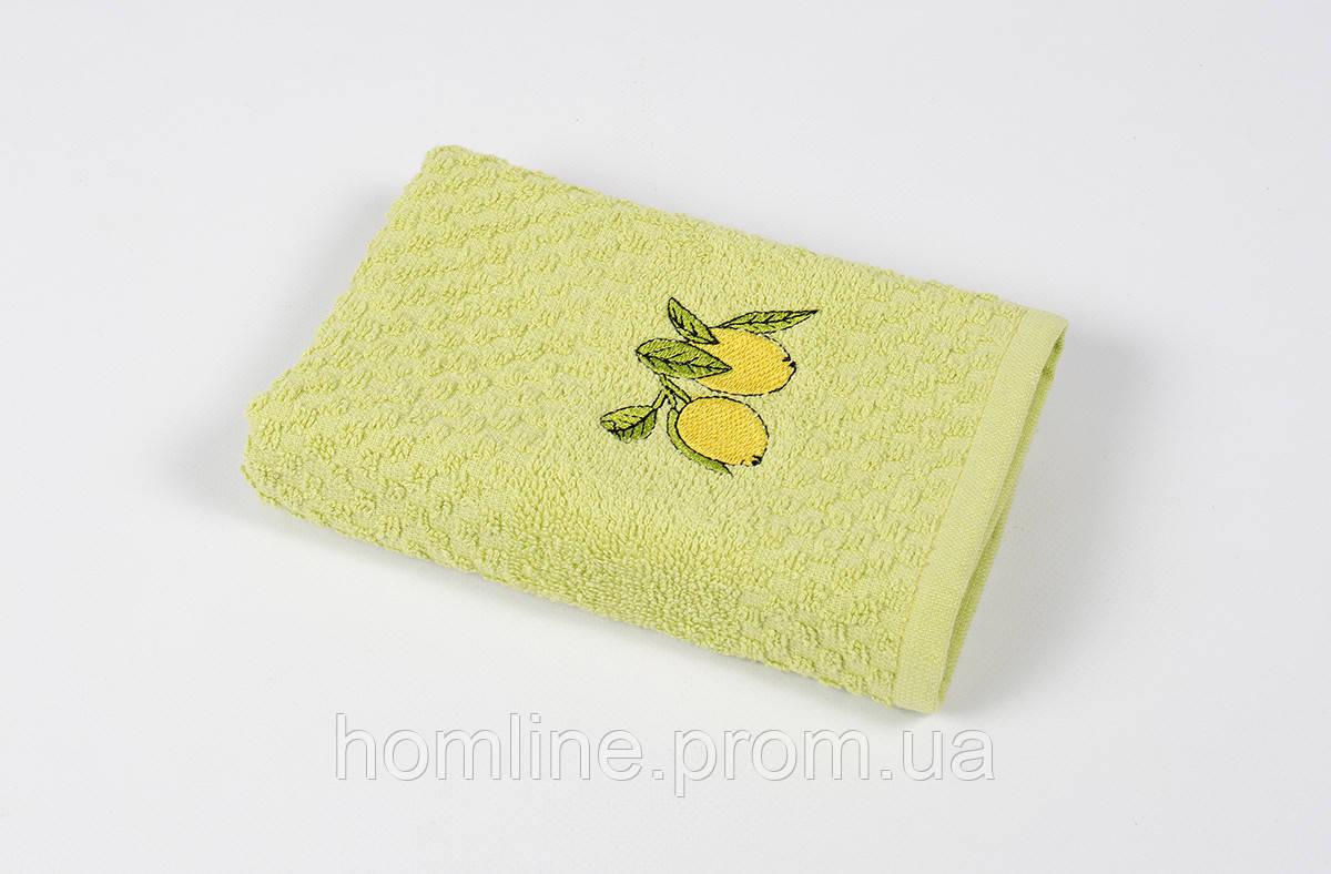 Полотенце кухонное махровое Lotus Mira Lemon tree оливковый 40*60