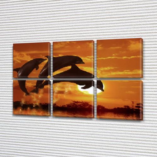 Три дельфина на закате, модульная картина (животные, рыбы, дельфины), на Холсте син., 52x80 см, (25x25-6)