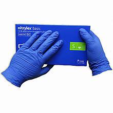 Перчатки  нитриловые Nitrylex Basic однорразовые неопудренны  100 шт  размер   S синие