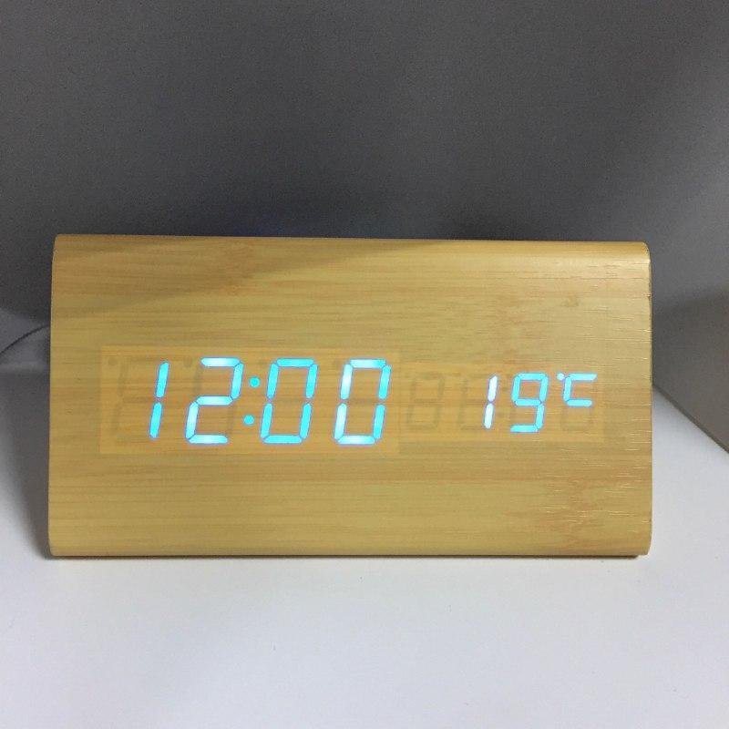 Электронные часы VST-861 Светлое дерево – Синяя подсветка  | ОРИГИНАЛ
