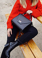 Жіноча шкіряна сумка чорна 29 х 20 х 12 см