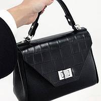Женская кожаная сумка черная под крокодила, фото 1