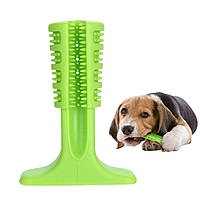 Зубная силиконовая щётка для собак Petolls зелёная размер M 10x14.6x4.9 см