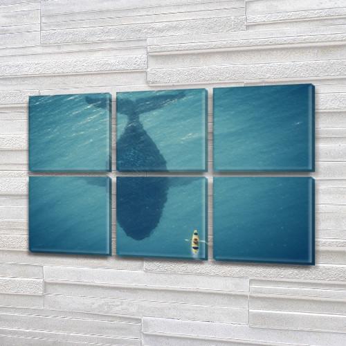 Синий кит и лодка, модульная картина (животные, рыбы), на Холсте син., 52x80 см, (25x25-6)