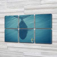 Синий кит и лодка, модульная картина (животные, рыбы), на Холсте син., 52x80 см, (25x25-6), фото 1