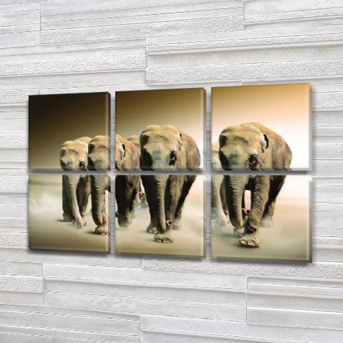 Слоны, модульная картина (животные, Африка) на Холсте син., 52x80 см, (25x25-6)
