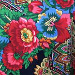 Подкова 377-19, павлопосадский платок (шаль) из уплотненной шерсти с шелковой вязанной бахромой, фото 8