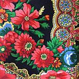 Подкова 377-19, павлопосадский платок (шаль) из уплотненной шерсти с шелковой вязанной бахромой, фото 9