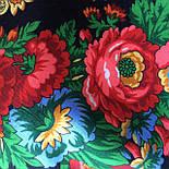 Подкова 377-19, павлопосадский платок (шаль) из уплотненной шерсти с шелковой вязанной бахромой, фото 2