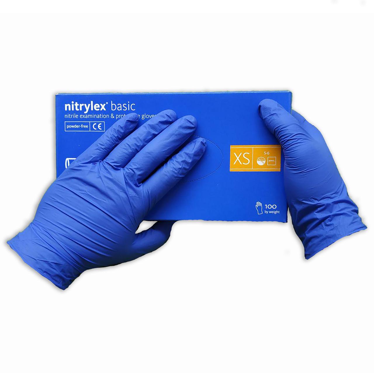 Перчатки нитриловые Nitrylex Basic неопудренные  100 шт  размер   XS синие