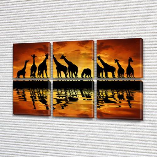 Жирафы, модульная картина (животные, Африка), на Холсте син., 52x80 см, (25x25-6)