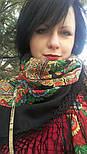 Подкова 377-19, павлопосадский платок (шаль) из уплотненной шерсти с шелковой вязанной бахромой, фото 5