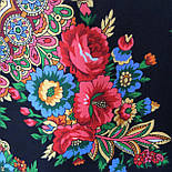 Подкова 377-19, павлопосадский платок (шаль) из уплотненной шерсти с шелковой вязанной бахромой, фото 10
