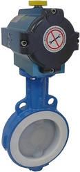 Затворы дисковые поворотные с седловым  уплотнением из фторопласта (PTFE)
