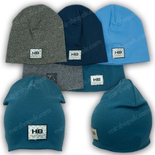 Двойная трикотажная шапка с 3D эмблемой, р. 50-52