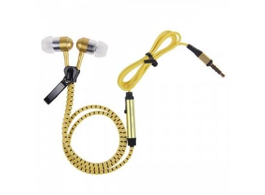 Купить Наушники на молнии Zipper Earphones желтые