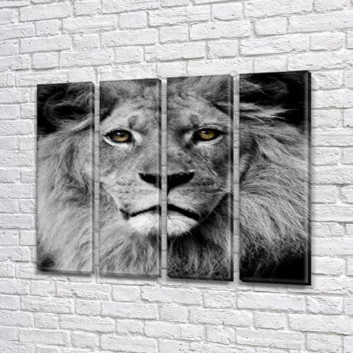 Черно-белый лев, модульная картина (животные, львы, коты), на Холсте син., 65x80 см, (65x18-4)