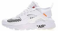 Мужские кроссовки Nike Air Huarache x Off-White (найк хуарачи x офф вайт, белые)